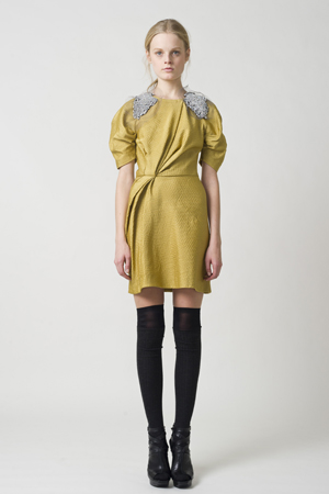 Gold lightweight ottoman draped cocktail dress with sleeves and crystal epaulettes