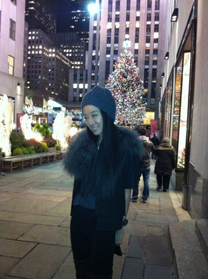 At Rockefeller Center last week in front of the famous tree