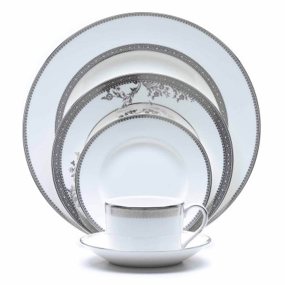"Vera Wang for Wedgwood ""Vera Lace"" 5 Piece Place Setting; Platinum Lace features details reminiscent of the most delicate lacework, encircled by an elegant platinum border."