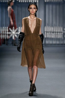 How would you wear this vicuna chiffon multi-pleated deep V-neck dress from Vera's Fall 2011 RTW Collection?