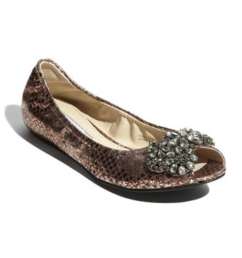 Vera Wang Lavender 'Luna' Metallic Leather Flat: Embellished jewels arranged in floral clusters frame the peep toe of a flexible, metallic-leather flat with allover snakeskin texture.