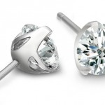 Platinum and diamond stud earrings by Michael Bondanza