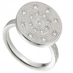 Platinum ring with diamond accents by Sholdt