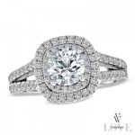 Brilliant cut diamond with two diamond hallos and a split pave shank.