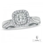 Princess cut diamond with two diamond halos and a diamond accented shank.