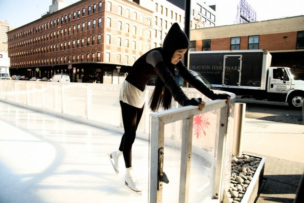 """Breaking in her skates on the ice."" 