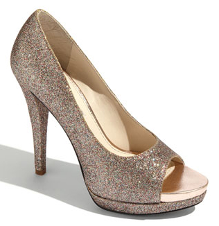 "Our glittery ""Selima"" peep-toe pump from the Lavender collection will allow you to dance the night away in style."