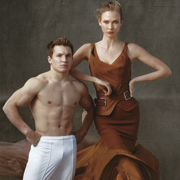 Vogue June 2012 | Gymnast Jonathon Horton with Model Karlie Kloss