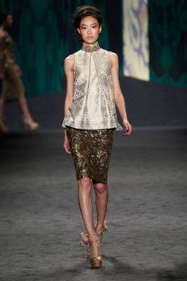 Look 36: White Indian brocade tulip top with gold jeweled collar over gold hammered bullion skirt | Photography: Dan Lecca