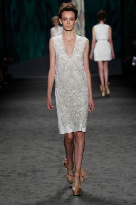 Look 7: White soutache embroidered sleeveless v-neck shift | Photography: Dan Lecca